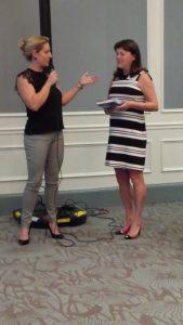 Presidents Reception Sarah Crow presenting gift to President Paula Morrison