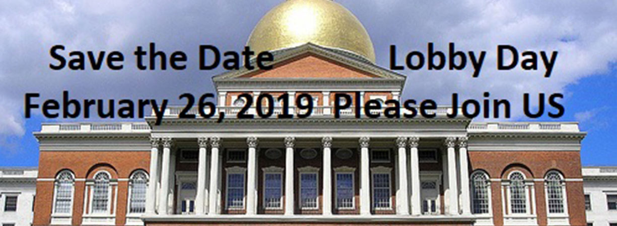 "Image of State House with ""Lobby Day February 26, 2019 Save the Date"" text"